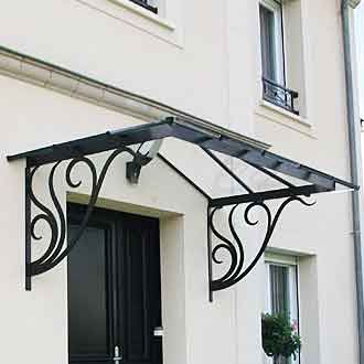Marquise fer forg vegetal ma85 reignoux cr ations - Marquise de porte en fer forge ...