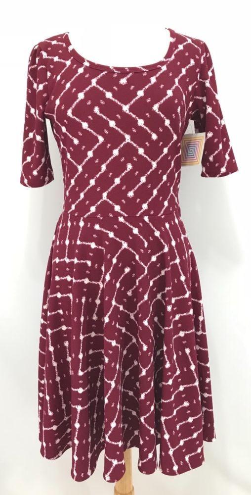 fedded826573 LuLaRoe Nicole Dress Size L Red White Textured Short Sleeve Scoopneck