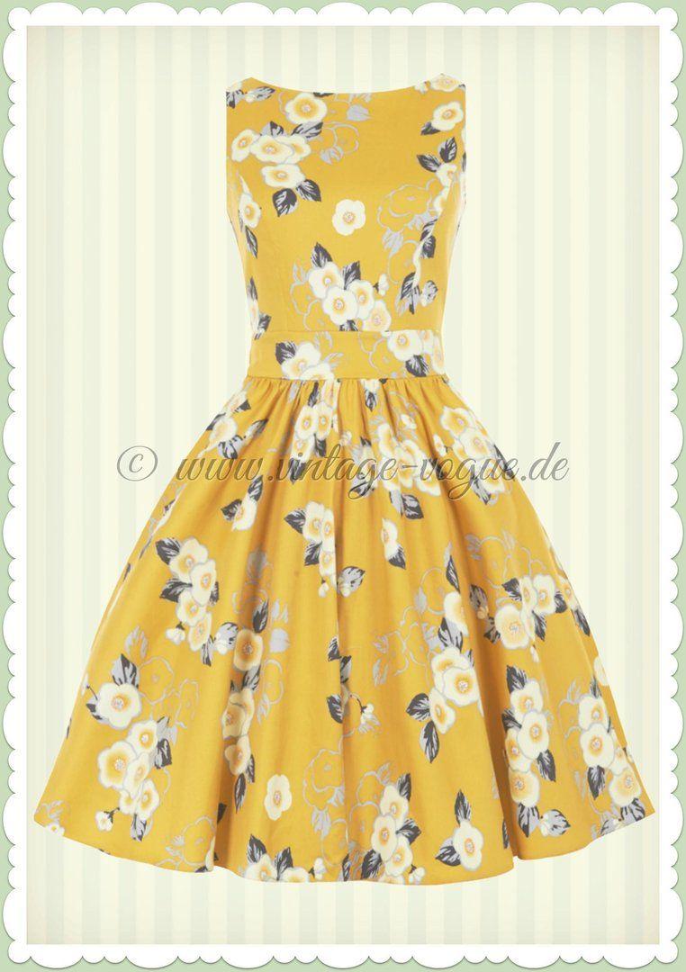 Lady Vintage 40er Jahre Vintage Blumen Kleid - Yellow Floral - Gelb ...
