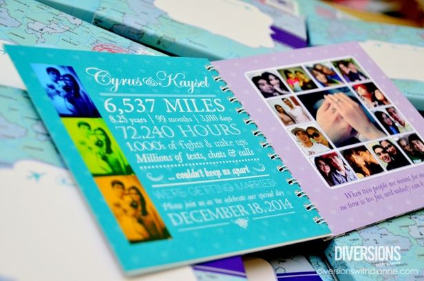 Cryus Kaysels Long Distance Themed Wedding Scrapbook Invitations