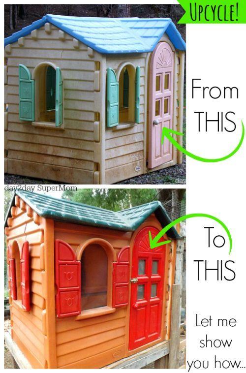 DIY Playhouse Renovation! - Paint That Old Plastic Playhouse ...