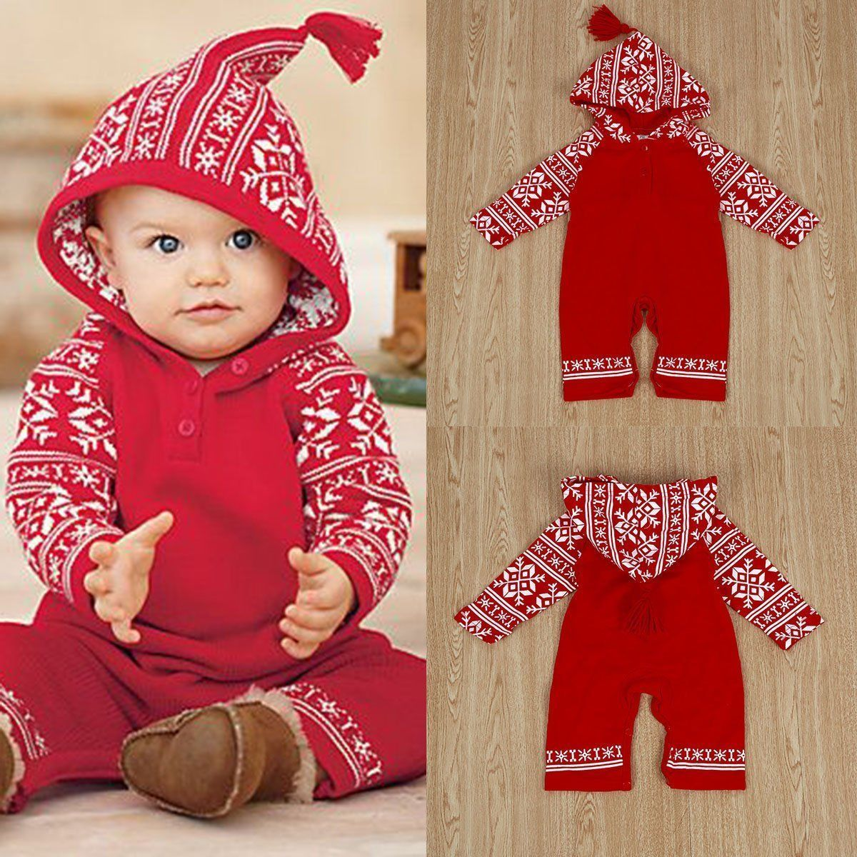 eca0d3ace6d  3.89 - Baby Girls Hoodie Rompers Jumpsuit Bodysuit Snowflake Cotton Soft  Outfit Clothes  ebay