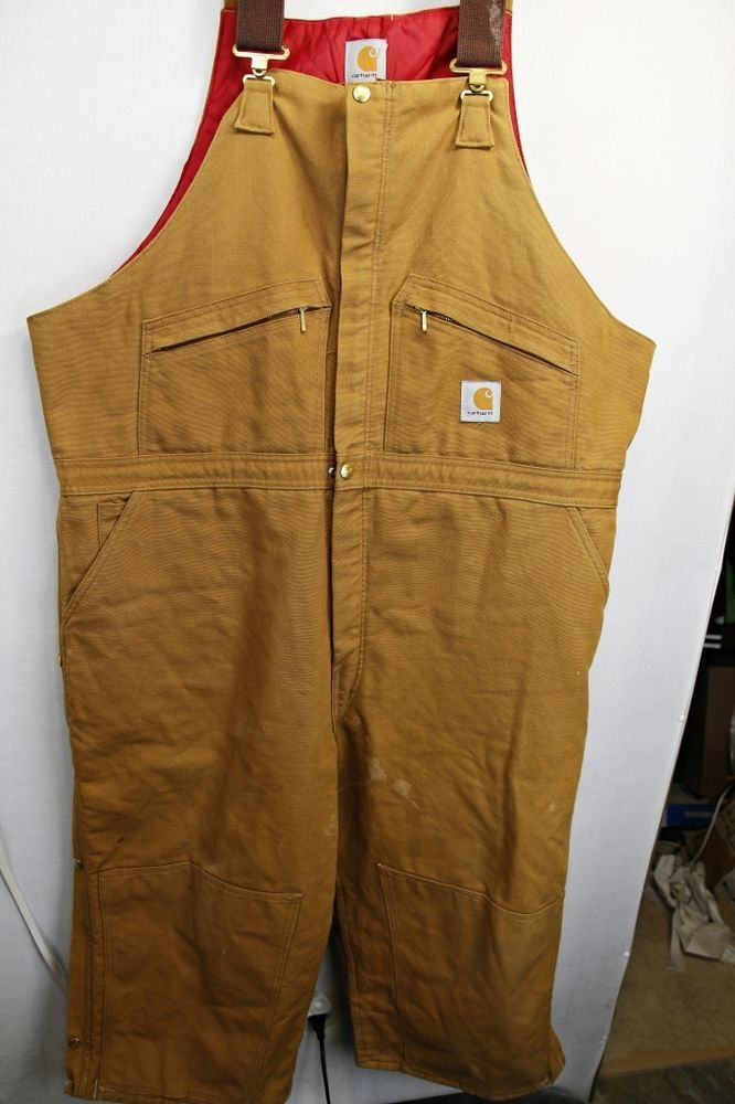 carhartt insulated duck bib overalls zipper sides 44x31 on insulated overalls id=47573