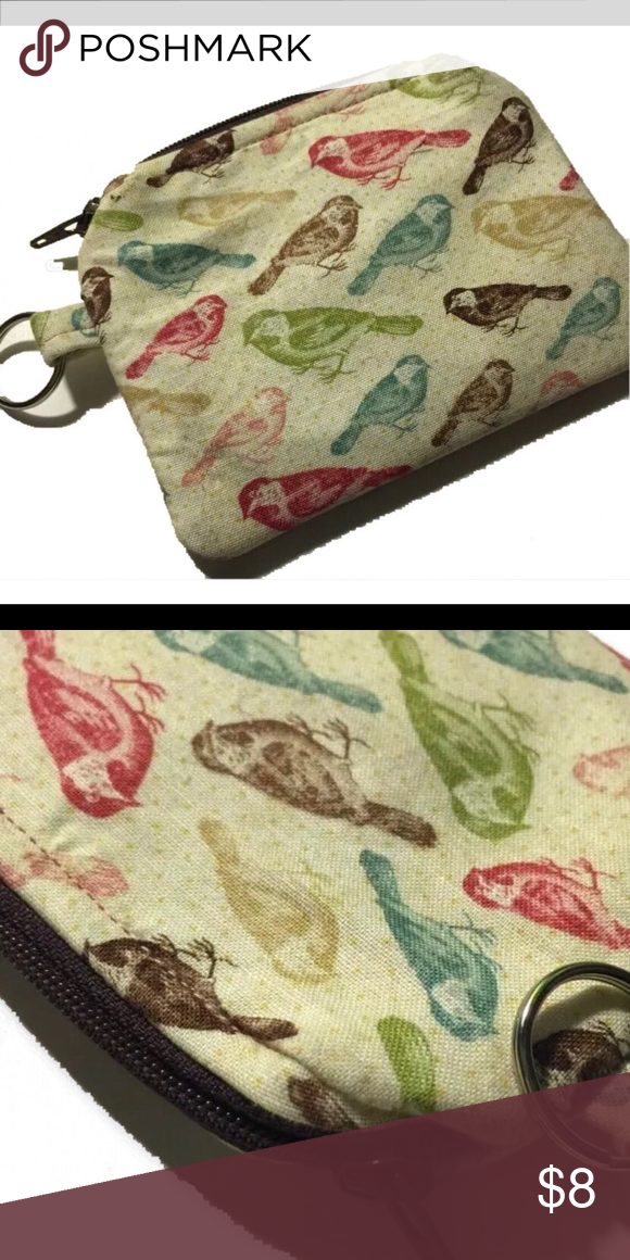 """Teepetals multi colored birds zipper pouch This adorable cute Multi colored bird 🐦 zipper keychain Pouch is a clever but unique way to carry your coins, monies, moo cards, tea bags, and more.  Sized Measurements: @4 3/8"""" x 3 2/8""""  This pouch is Created with 100% cotton  This pouch has a secure zipper closure to keep items inside. #birds #birdlover #zipperpouch #miniwallet teepetals Bags Cosmetic Bags & Cases"""