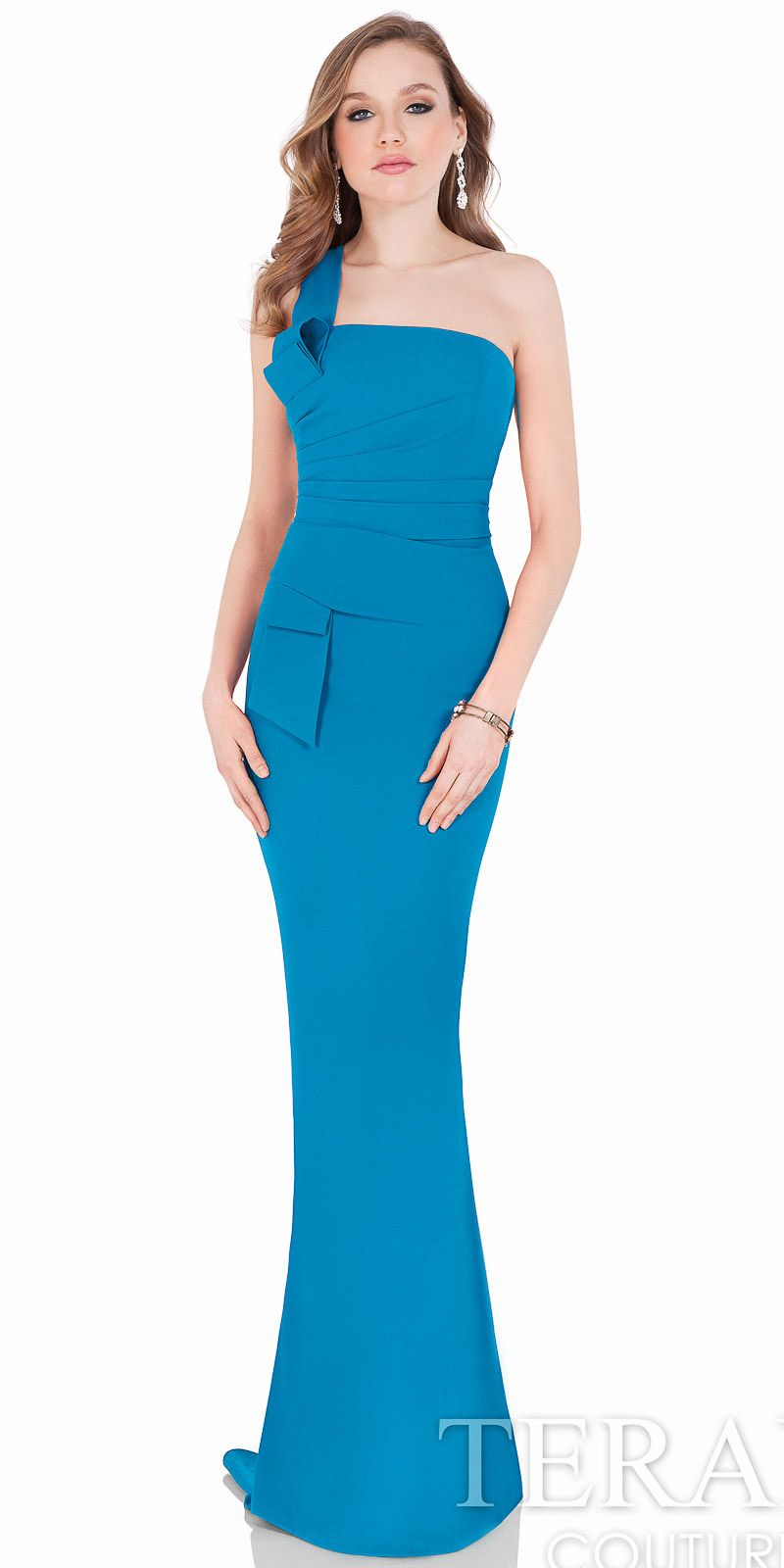 One Shoulder Pleated Crepe Dress by Terani Couture #edressme | NEW ...