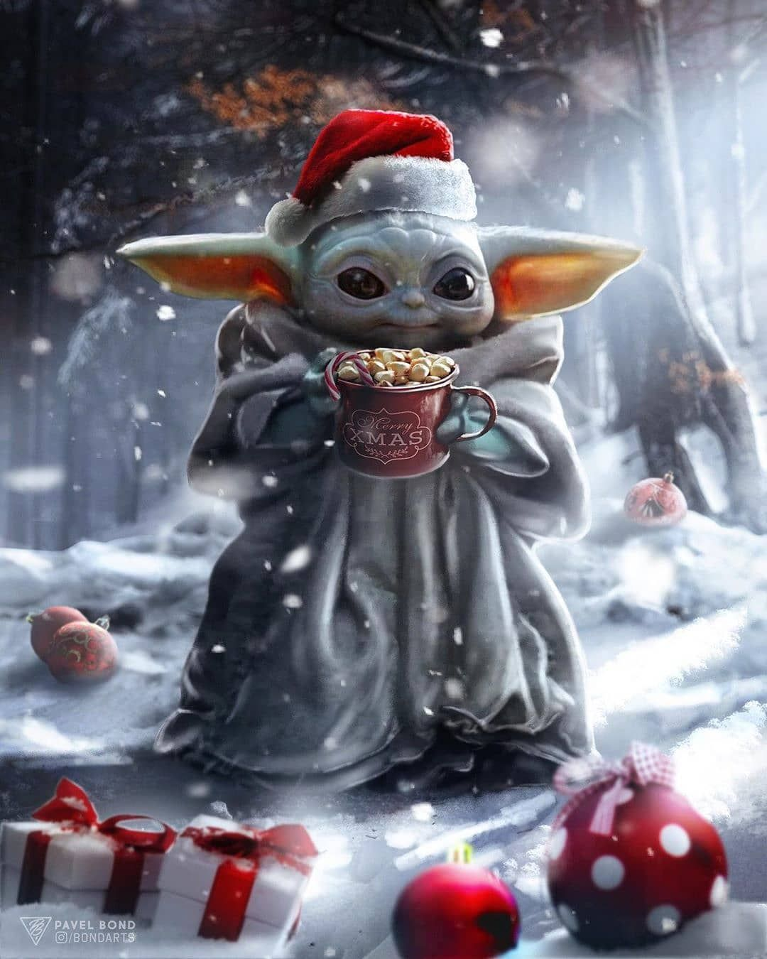 Happy New Year And Merry Christmas By Pavel Bond Star Wars Wallpaper Star Wars Pictures Yoda Wallpaper