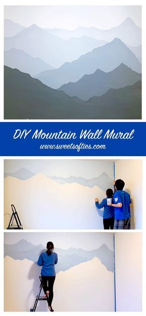 Sweet Softies | Amigurumi and Crochet: How to Paint a Mountain Mural on your Bedroom or Nursery Wall | DIY Timelapse + Speed Painting