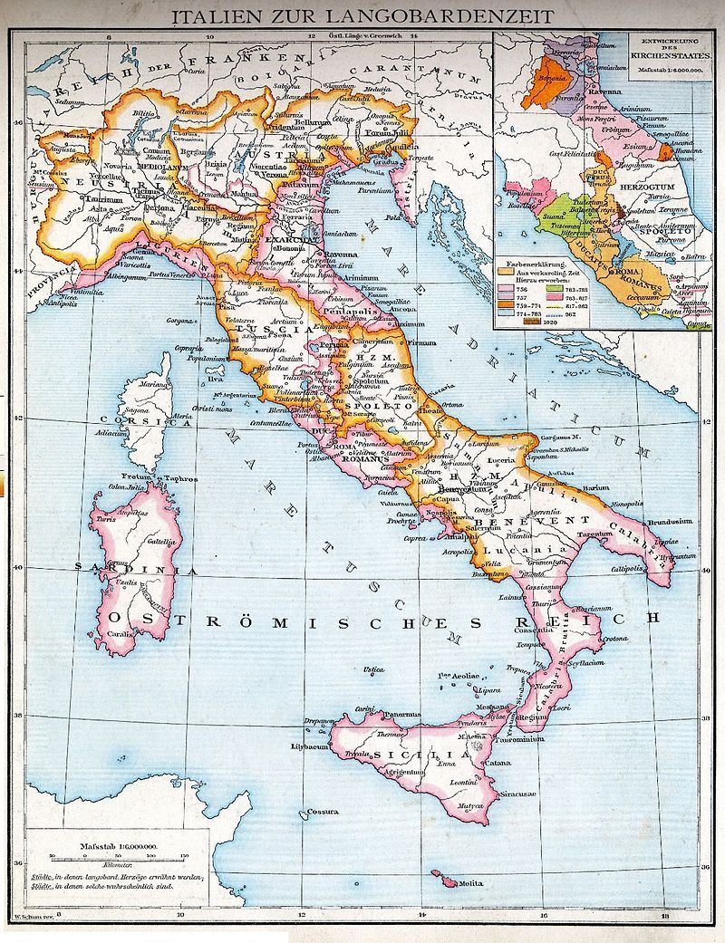 The Lombard Possessions In Italy The Lombard Kingdom Neustria