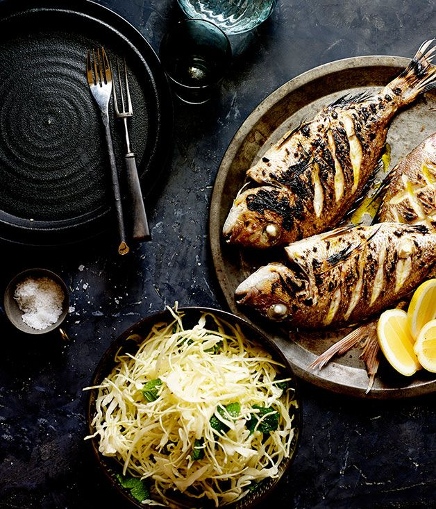 Australian Gourmet Traveller recipe for baby snapper with cabbage, mint and caraway salad by Joseph Abboud from Rumi, Melbourne.