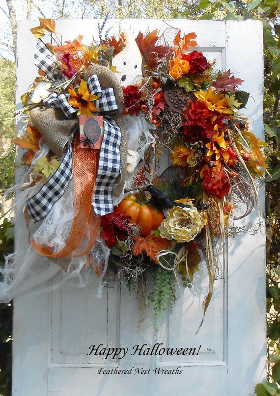 Halloween Wreath, Ghost Wreath, Primitive Decor, Front Porch Wreath - decorating front porch for halloween