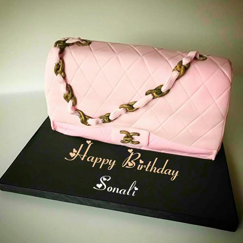 Astounding Ladies Purse Birthday Cake With Name Edit For Wife Cake Name Personalised Birthday Cards Fashionlily Jamesorg
