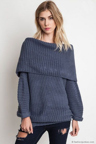 Chunky Thick Foldover Off the Shoulder Knit Sweater Top-Grey Blue ...
