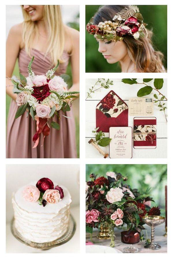 Color Marsala e Dusty Rose per il matrimonio. #wedding #ideas #nozze  marsala+-dusty-rose
