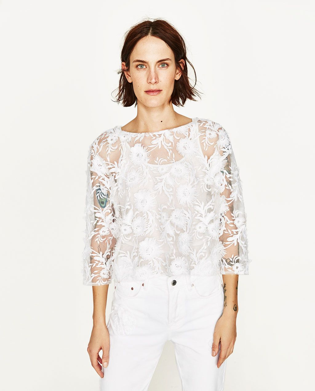 Image 1 of LACE TOP from Zara | Lets go Shopping!!! | Pinterest | Funky fashion Aw17 and Boho