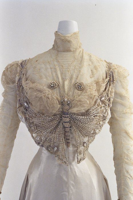 Wedding dress ca. 1900, beads embroidered tulle blouse with butterfly motif and high collar