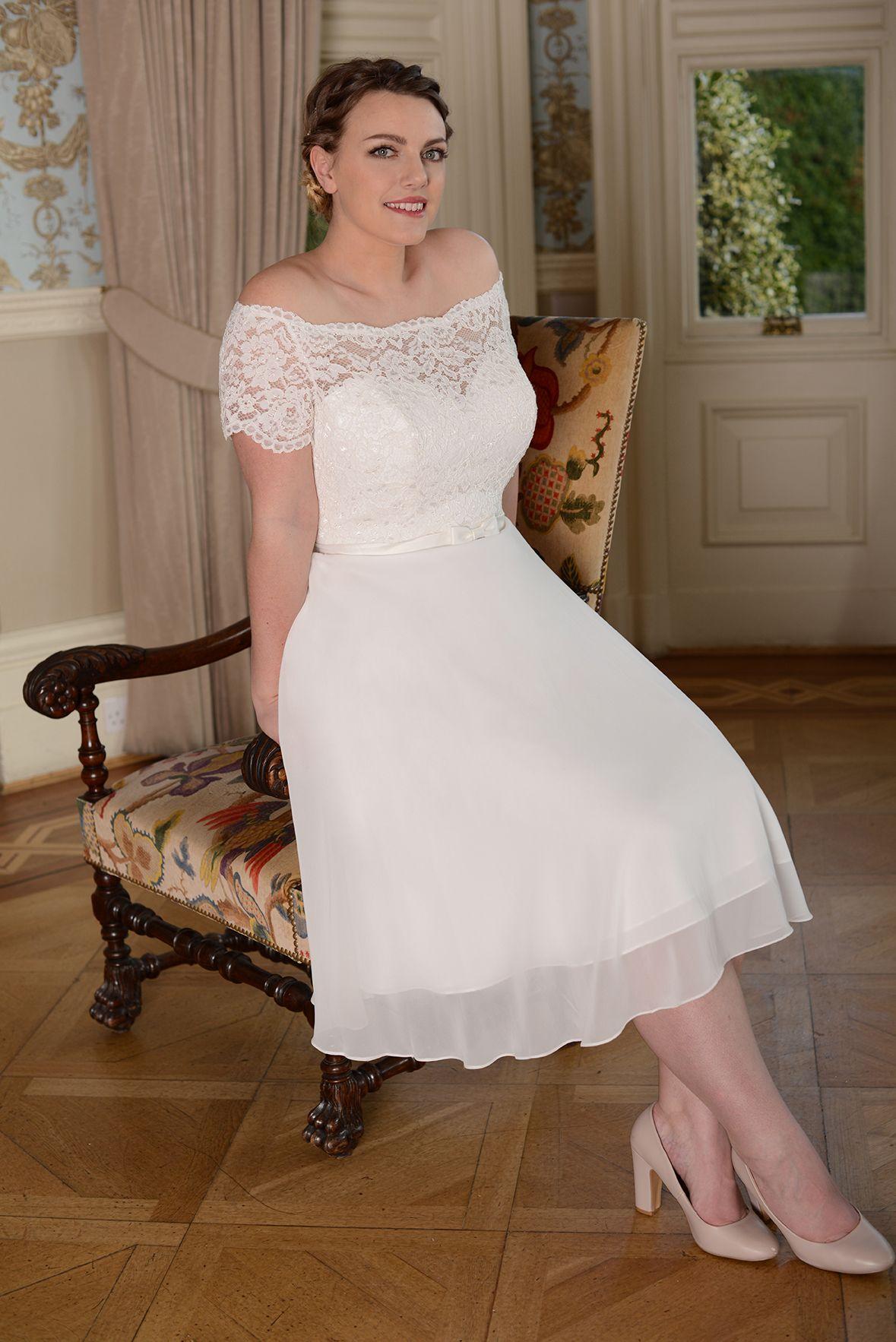 very simple Grecian chiffon lace wedding dress plus size ...