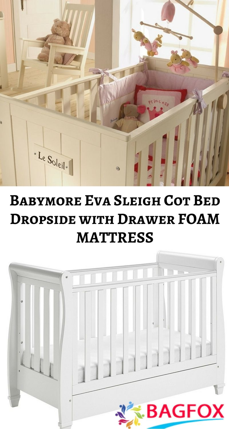 babymore eva sleigh cot bed dropside with drawer (white finish) +