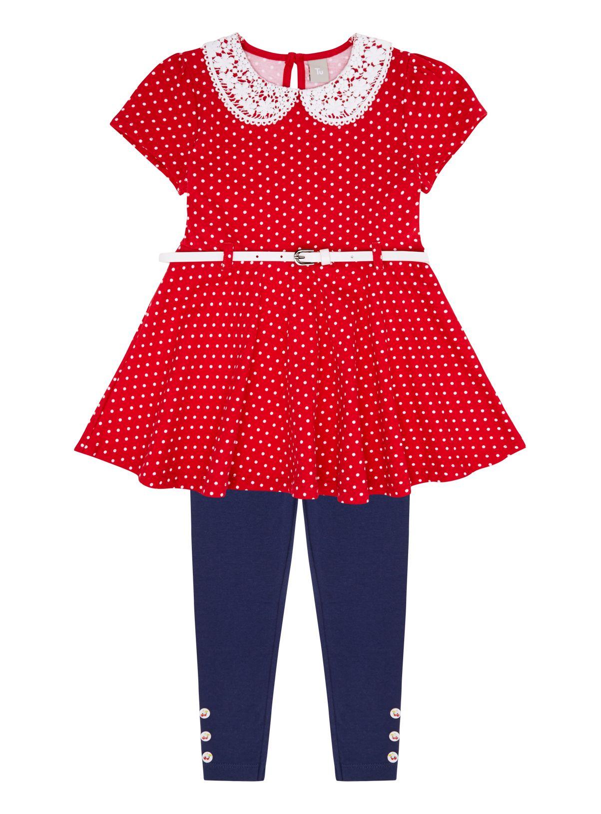 White apron sainsburys - 3 12 Years Tu At Sainsburys Girls Red Spotted Jersey Dress 10