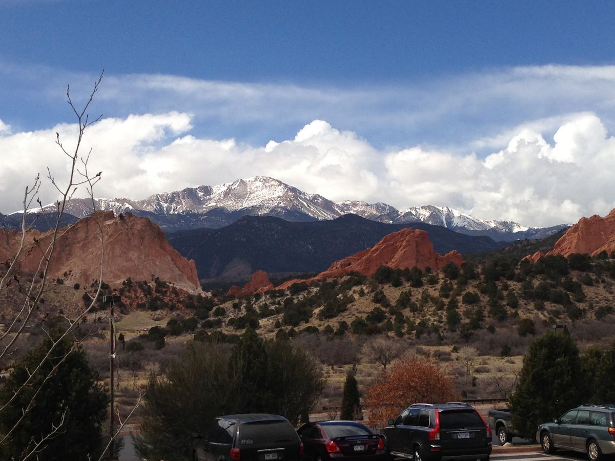Looking at Pikes Peak from the garden of the gods visitor center.