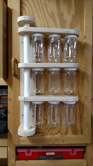Small Parts Storage ?wood dowel in the middle of the pvc? | garage