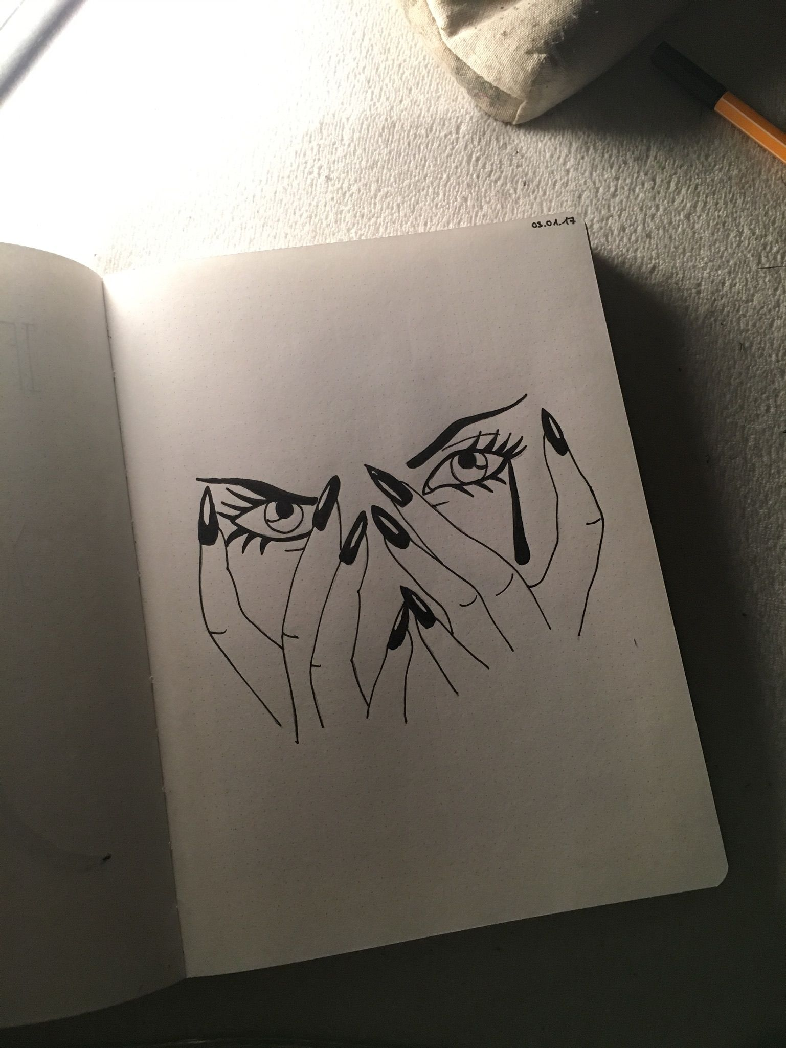 Cry baby drawing drawings simple easy girl cry angry sad eyes handy