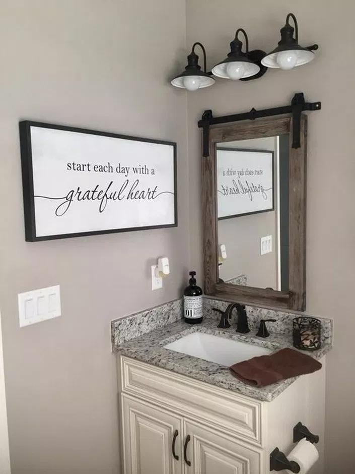 30 Best Farmhouse Bathroom Decor Ideas On A Budget Tendollarbux Com Bathroom Makeovers On A Budget Bathroom Makeover Bathroom Mirror