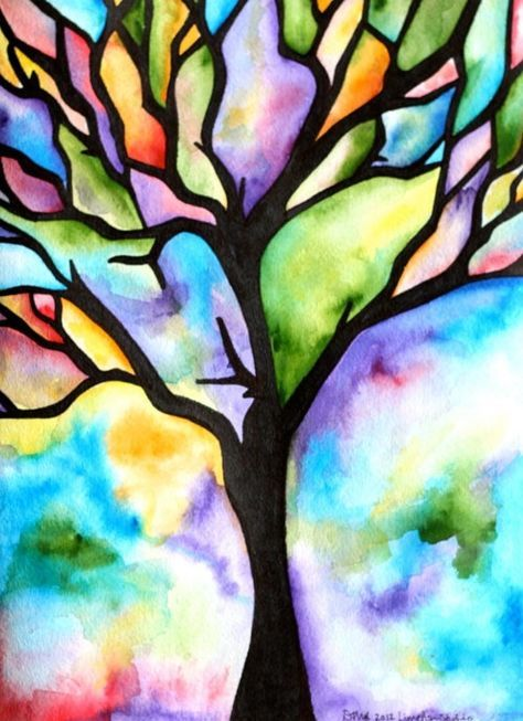 Photo of MADE-TO-ORDER Watercolor Painting, Tree Silhouette, Colorful Rainbow Hues, 8″x10″