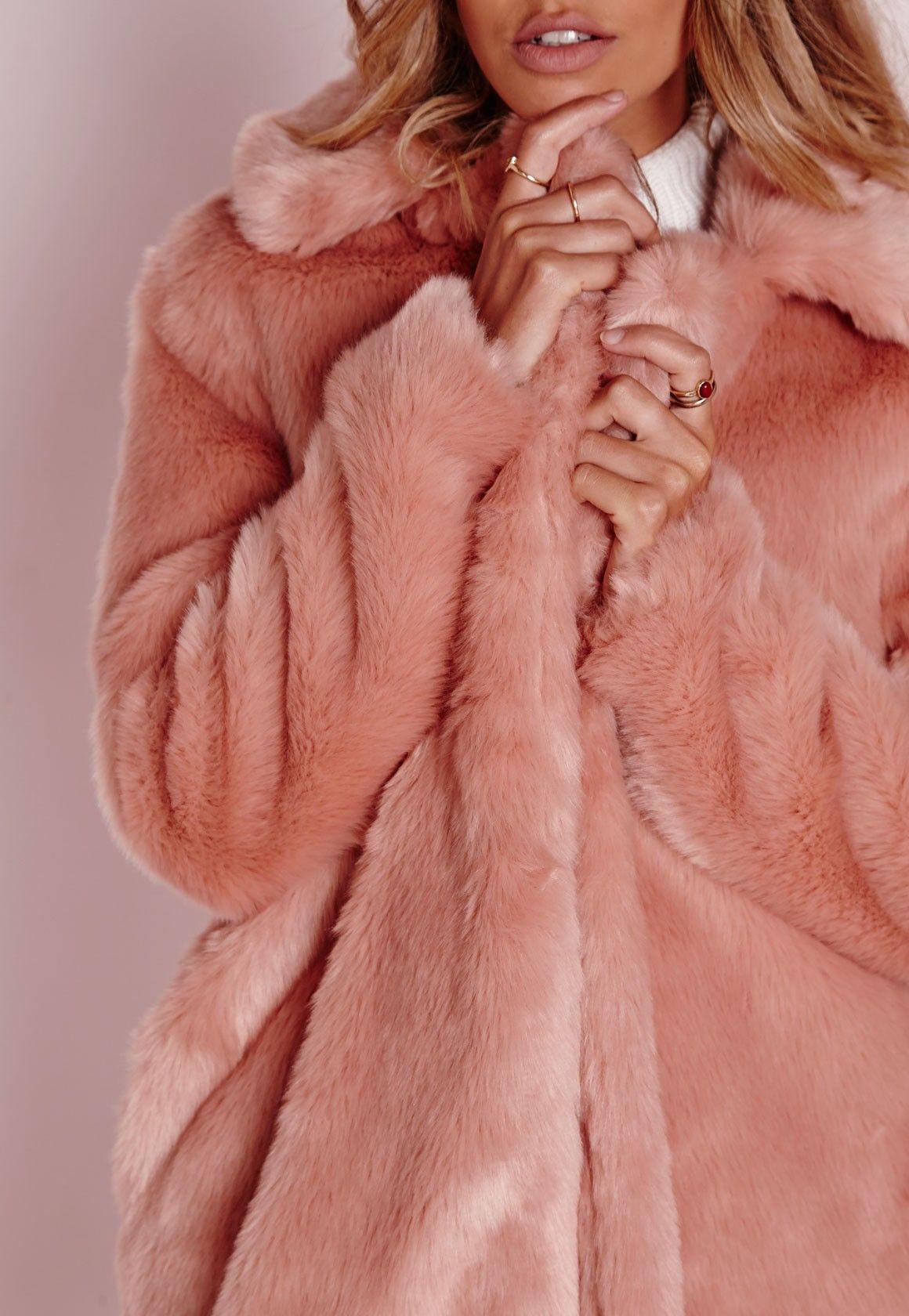 2eddb5f0a73c Missguided - Longline Faux Fur Coat Pink | Outfits | Pink faux fur ...