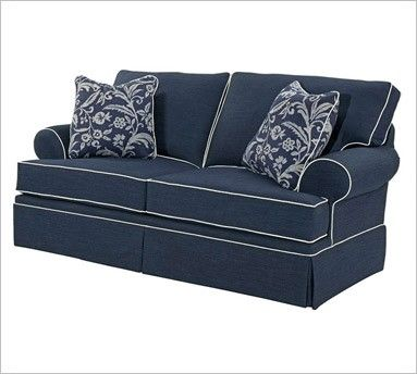 My dream sofa for the family room rooms family room for Navy blue sectional sofa with white piping