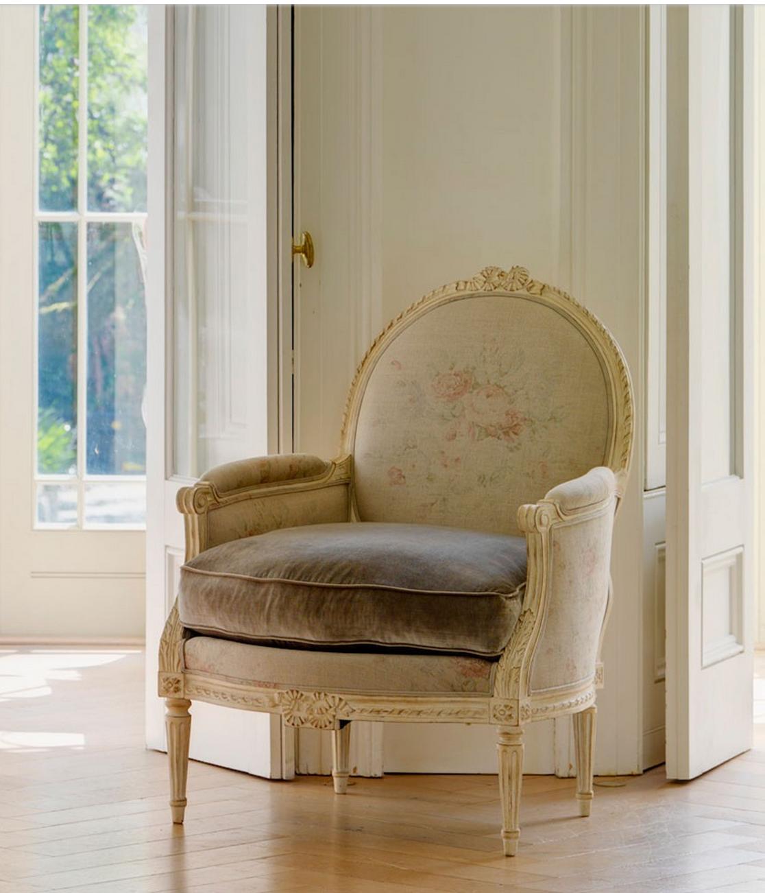 Minnie Peters - Belgian Chair with Ralph Lauren faded Linen and velvet.