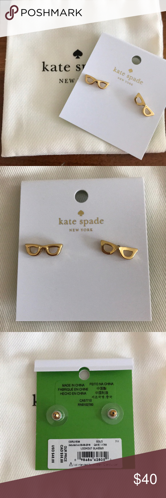 d423254b8d99e NWT Kate Spade Lookout Glasses Earrings New with tags Kate Spade ...