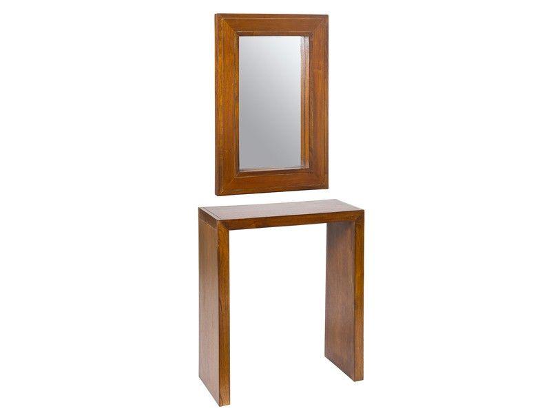 recibidor de madera con espejo a juego