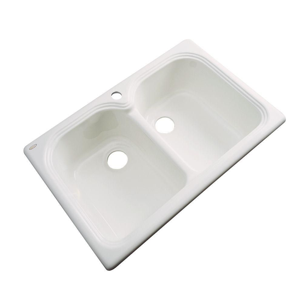 Thermocast Hartford Drop In Acrylic 33 In 1 Hole Double Bowl
