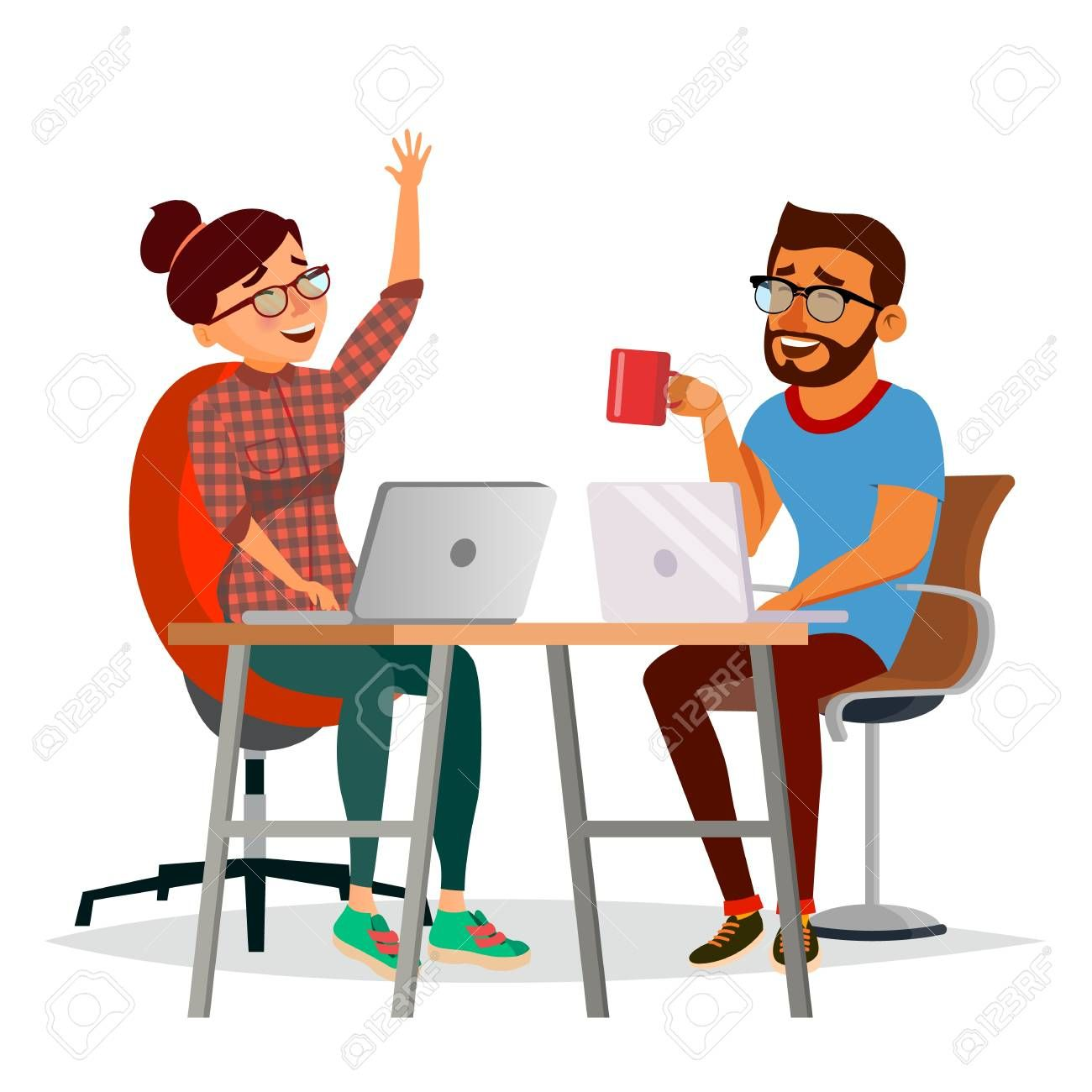Business People Sitting At The Table Vector Laughing Friends Office Colleagues Man And Woman Talking To Each Character Illustration People Sitting Man Office