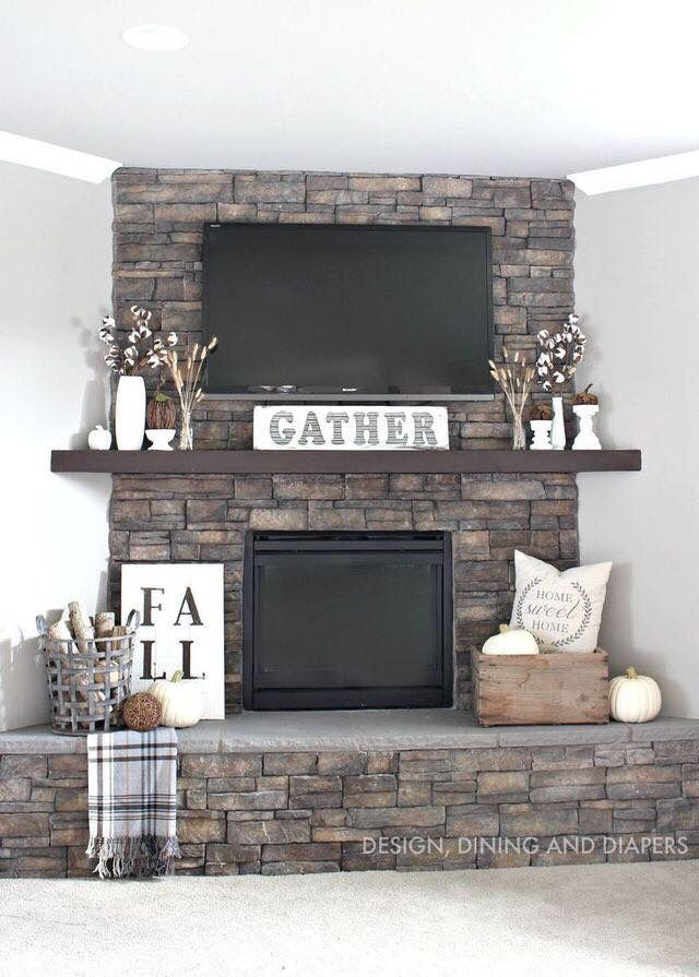 Floor To Ceiling Brick Fireplace Makeover Part - 30: Loving The Stone From Floor To Ceiling And Mantle! Fireplace RedoFireplace  RemodelFireplace ...
