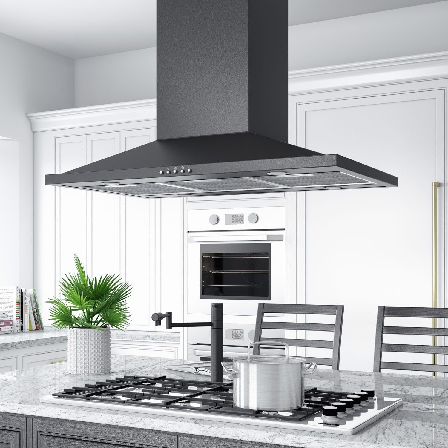36 Artisan Series Stainless Steel Black Island Range Hood 600 Cfm Fan Kitchen 600cfmrangehood Island Range Hood Island With Stove Stainless Steel Island