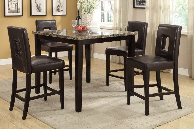 Poundex F2339 1321 5 Pc Square Faux Marble Espresso Finish Wood Counter Height Dining Table Set Counter Height Dining Sets Counter Height Table Sets Counter Height Dining Table Set
