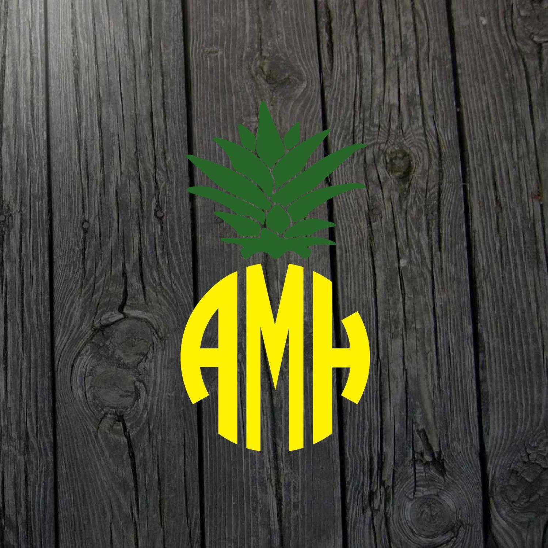 Pineapple Monogram Pineapple Decal Pineapple Sticker Pineapple Car - Custom vinyl decals for wood