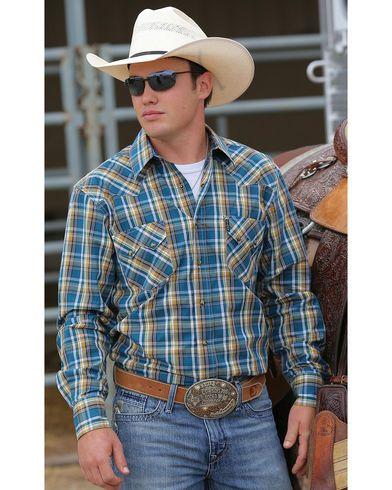 2e3beae9 Cinch Men's Blue and Gold Plaid Modern Fit Double Pocket Western Shirt |  Sheplers