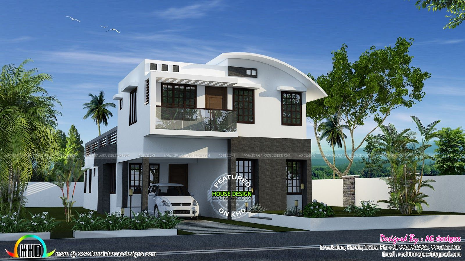 Home design compact slate 30x40 house front elevation for New kerala house plans with front elevation
