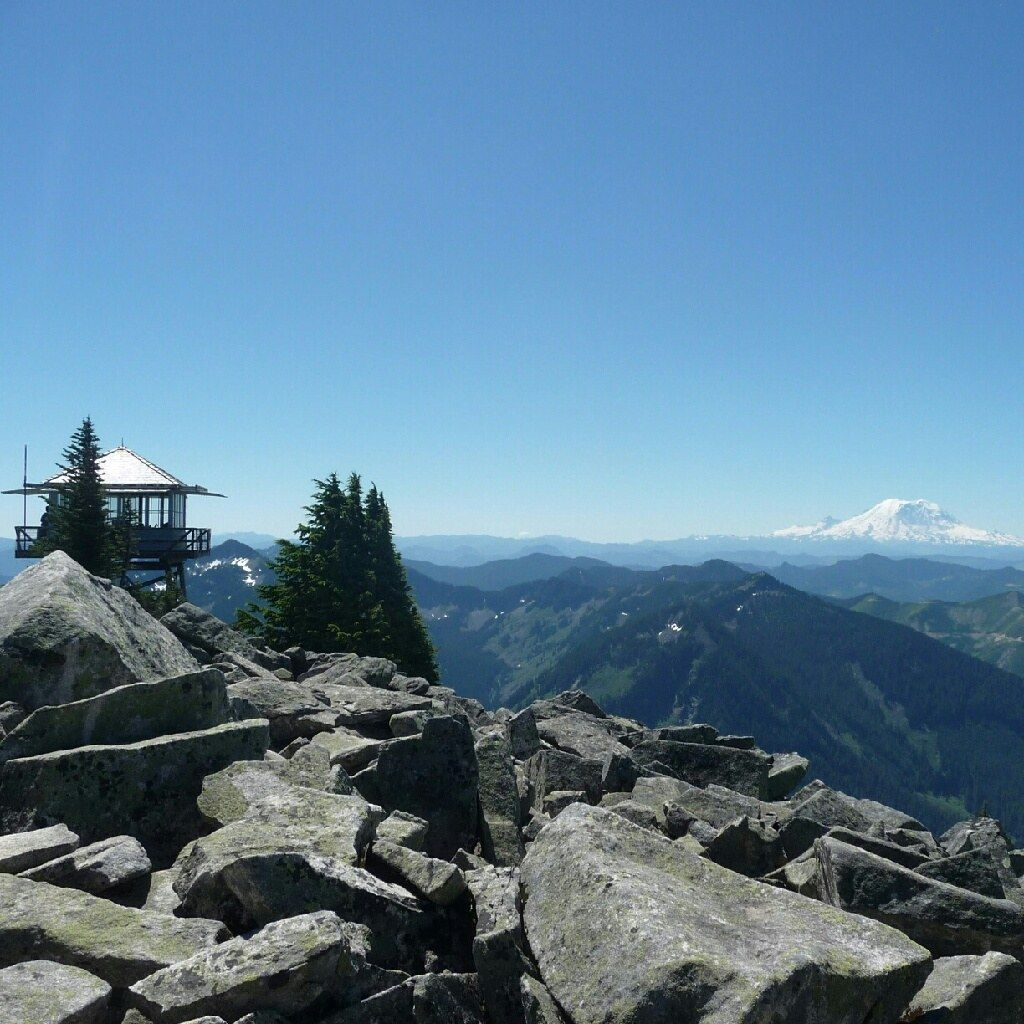 granite mountain summit with lookout and rainier photo by