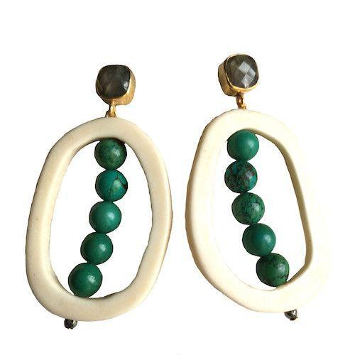 Open Drop Earrings | Labradorite + Turquoise
