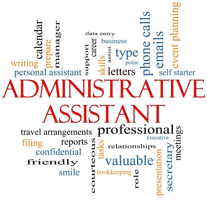 Administrative Assistant Word Cloud Concept Work Life - dental assistant job description