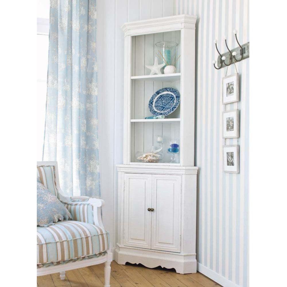 Mueble esquinero de madera de paulonia blanca an 73 cm en for Comedor de muebles de madera blanca