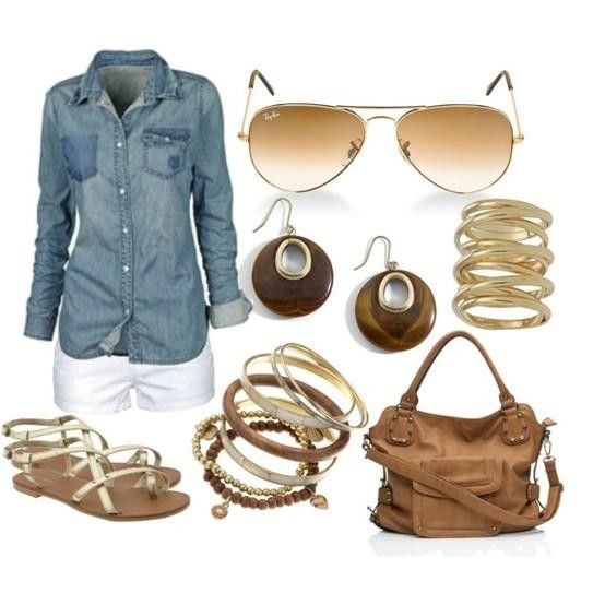 Fitted jean shirt & white shorts are a casual summer mid-day hit! The aviator glasses are Fab with this look! Love the rings but NOT liking the bangles, earrings or purse. The cute gold flat sandals adds femininity to this chic look!