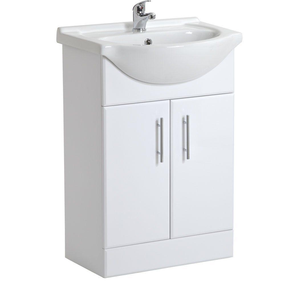 Trueping White Gloss Bathroom Vanity Unit Basin Sink 550mm Cloakroom Storage Cabinet Ceramic Furniture 5 Year Guarantee Co Uk Diy Tools