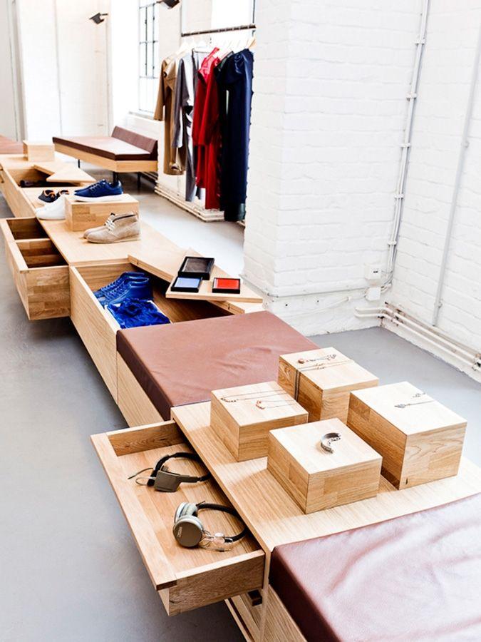 Plywood display fixtures in the k mb showroom retail design