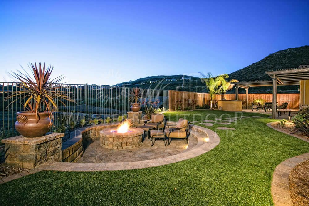 Image result for backyard with fire pit, artificial turf ...