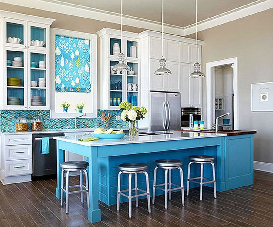 Ice Blue Kitchen Island On Refrigerator Cabinets