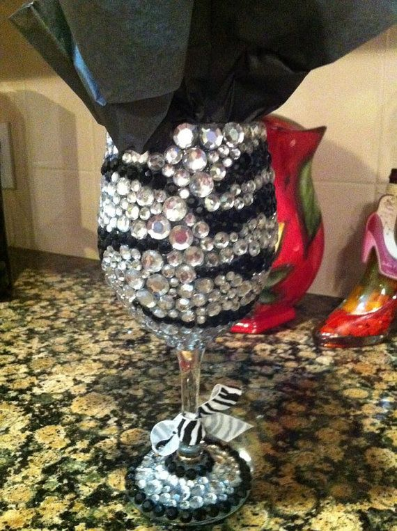 1185919ebd9 Rhinestone Bling Wine Glass by glamourgrl on Etsy
